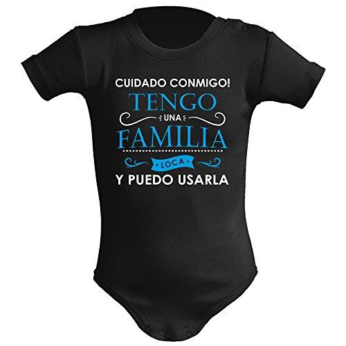 Body bebé unisex. Tengo una familia loca. Regalo original. Body bebé divertido. Body friki. Manga corta. (3 meses, Negro con azul)