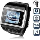 Flylinktech� Fashion Q8 Handyuhr Armbanduhr Handy Smartwatch Smarthandy Mit Dual SIM-Karte/Kamera/Touchscreen+Tastatur+MP3+MP4 Multifunktion (Schwarz)