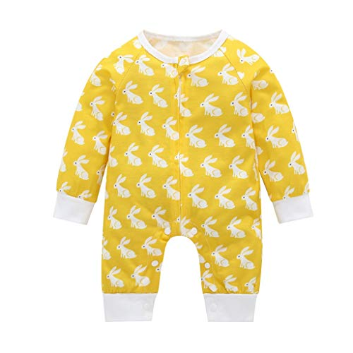 bobo4818 Neugeborenes Baby Langarm Kaninchen Print Overall für 3-19 Monate (Recommended Age:12-19, Gelb)