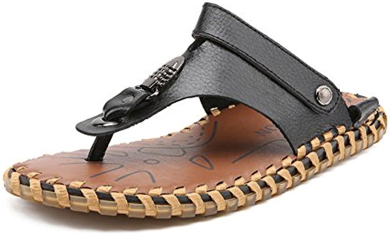 Männer Flip Flops Schuhe Aus Echtem Leder Strand Hausschuhe Rutschfeste weissshe Flache beiläufige Sandalen Rutschen