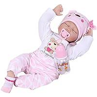 STRIR 22 Pulgadas Lifelike Reborn Bebé Muñecas Vinilo de Silicona Realista Hecho a Mano Bebés Para Niñas Juguetes Reborn Baby Dolls 55cm, Conveniente Para la Edad 3 Más