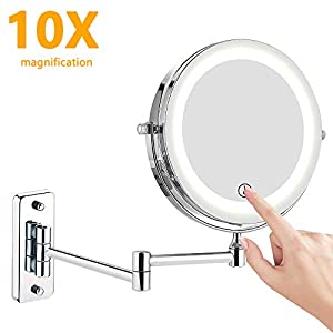 Kosmetikspiegel LED Beleuchtet, 1x/10x Wandmontage doppelseite Vergrößerung Schminkspiegel, 360° Schwenkbar Faltbar…
