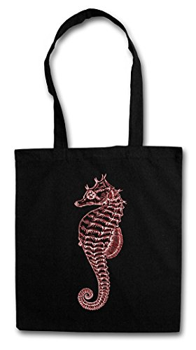 Price comparison product image SEA HORSE Reusable Hipster Shopping Cotton Bag - Seepferdchen Tattoo Nautical Sailor Slash Segeln Segler Kapitän Matrose Anchor Anker Oldschool Rockabilly Psychobilly
