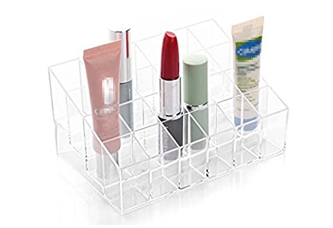 Cosmetics display shelf Acrylic Trapezoid 4 tier holds 24 lipsticks frame Cosmetic Makeup Organizer for Nail Polish, Lipstick, Brushes, Bottles, and more. Clear Case Display Rack Holder by Elandy