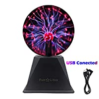 FunLites Magic Plasma Ball,6Inch Thunder Lightning, Touch & Sound Activated Plasma Globe for Parties, Novelty Decorations for Parties,Prop, Kids, Bedroom, Home