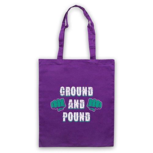 Ground And Pound MMA Fighting Slogan Umhangetaschen Violett