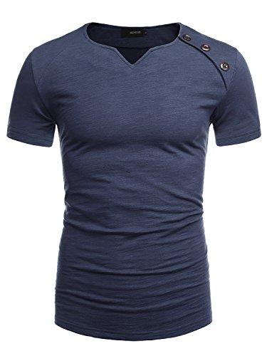 HEMOON Herren V-Ausschnit Sweatshirt Kurzarm Einfarbig Casual Navy XL (Navy Kurzarm-pullover)