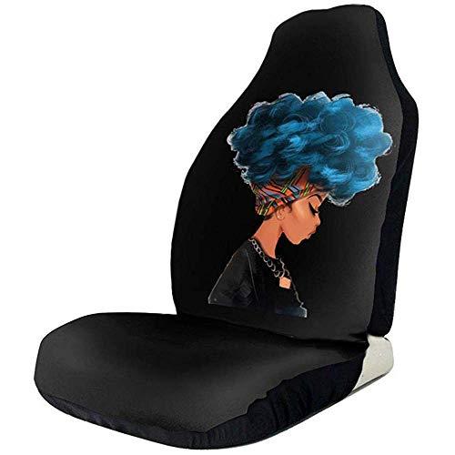 Blaue Haarfarbe African Woman Universal wasserdichte Autositzbezug, passend für die meisten Autos, LKWs, SUVs oder Van
