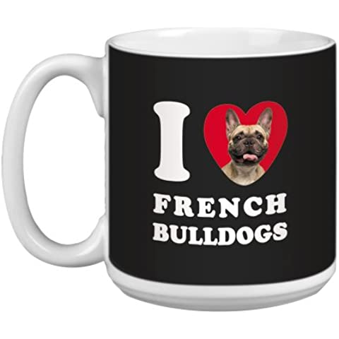 Árbol de-free Tarjeta de felicitación de 20 oz de conejos y corazones de French Bulldogs papero taza grande