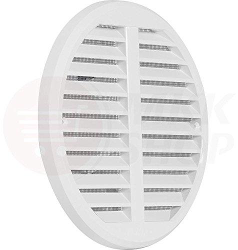 Griglia di ventilazione con zanzariera, 75-160mm, per aerazione e protezione dagli insetti, in plastica ASA, disponibile in bianco e marrone - Bocchetta di ventilazione e aspirazione per porta, bagno, WC, cucina, in varie misure, bianco, Ø 175 mm (125 - 160 mm einstellbar)