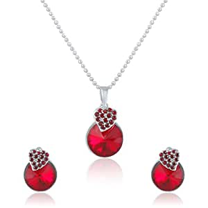 Mahi Liana Collection Red Rhodium Plated Red Swarovski Elements Pendant Set For Women-NL1104089RRe