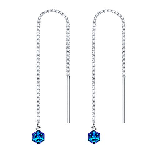Clearine Damen Ohrringe 925 Sterling Silber \'\'Magischer Würfel\'\' Kette Einfädler Ohrringe Kristall Kristall Bermuda Blau