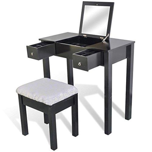 SENLUOWX Coiffeuse Noire avec Tabouret et 1 Miroir basculant 352cb4bb3be6