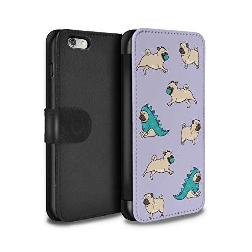 STUFF4 PU-Leder Hülle/Case/Tasche/Cover für Apple iPhone 5/5S / Dinosaurier Outfit Muster / Karikatur Mops Kollektion Spielzeit/Muster