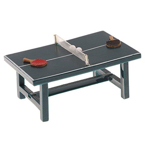 MagiDeal 1/12 Puppenhaus Miniatur Möbel Tischtennis Sportspiel Set - Ink. 1x Tischtennisplatte + 2x Tischtennisschläger +2x Ping Pong...