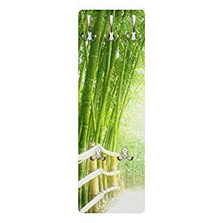 Apalis 78531 Wandgarderobe Bamboo Way | Design Garderobe Garderobenpaneel Kleiderhaken Flurgarderobe Hakenleiste Holz Standgarderobe Hängegarderobe | 139x46cm