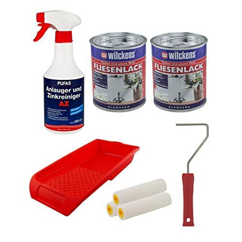 Set 2x Fliesenlack 0,75 Liter (weiß) mit 1x Anlauger und Zinkreiniger AZ 0,5 Liter + Farbroller + Farbwanne + 3x Walze
