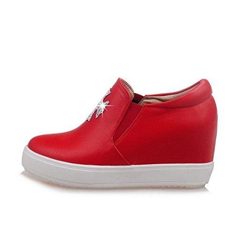 AgooLar Femme Pu Cuir Mosaïque Tire Rond à Talon Haut Chaussures Légeres Rouge