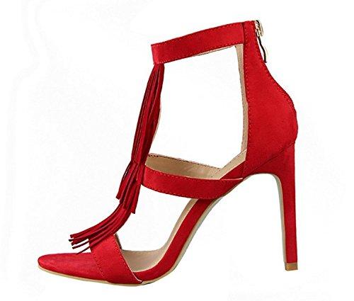 Wealsex Escarpins Sandales Daim Frange Bout Ouvert Talons Aiguilles Sexy Mode Vintage Rouge