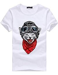 waotier Camiseta De Manga Corta para Hombre Ropa Estampada De Verano con Estampado De Gatos Camiseta