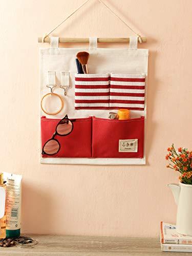 Cortina 4 Pockets Nylon Fabric Pouch Wall Door Closet Hanging Storage Organizer Bag Multi-Functional Living Room Bedroom Bathroom Saver Bag - Multicolor