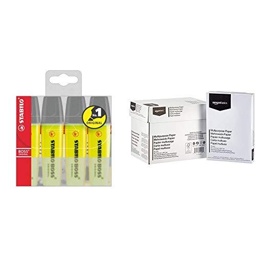 Textmarker - STABILO BOSS ORIGINAL - 4er Pack - gelb & AmazonBasics Druckerpapier, DIN A4, 80 g/m², 5x500 Blatt, Weiß