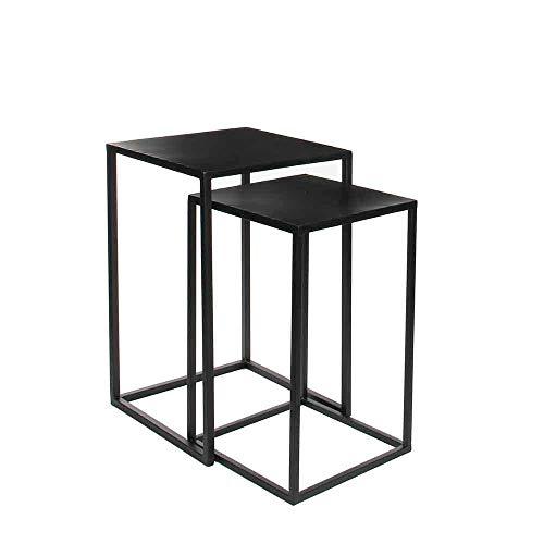 lili Blumentopf Stand,Schwarz Metall 2er Set 70 Und 60 cm Hoch Decorations Beistelltische Goa Satztische Pflanztische Couchtische,S+S -