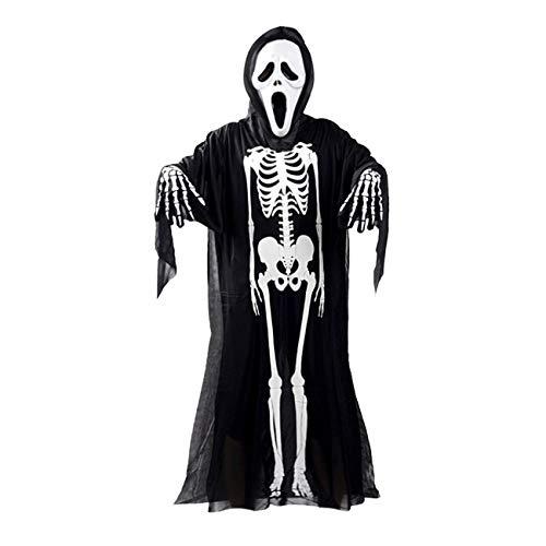 Jiobapiongxin Schädel Skeleton Ghost Cosplay Halloween-Kostüm + Devil -