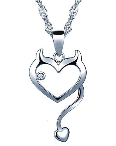 Unendlich U Modisch Katze Kätzchen Herz Damen Mädchen Halskette 925 Sterling Silber Zirkonia Anhänger Kette mit Anhänger, Silber -