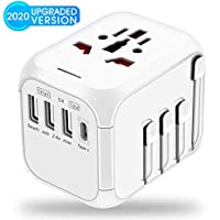 Universal Travel Adapter,International Power Adapter Worldwide All in One AC Outlet Power Plug Adapter 3 USB + 1 Type C Charging Ports for USA UK AUS European 200 Countries
