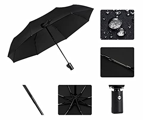 Goeous Classic Umbrellas Automatic Folding Compact Travel Business Umbrella, Auto Open and Close, Anti-Slip Rubberized Grip, Black