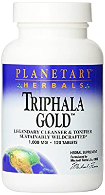 Planetary Herbals Triphala Gold Sustainably Wildcrafted (1,000mg, 120 Tablets ) by Planetary Herbals