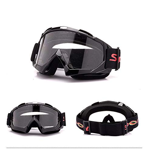 Yiph-Sunglass Sonnenbrillen Mode Neu Motorradhelm Offroad-Set Outdoor Skibrille Harley Brille Sandsicher (Color : Black+Clear)