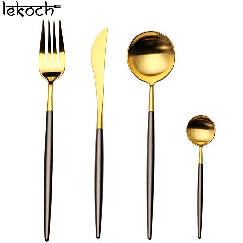 Lekoch 4 pièces Set de couverts en acier inoxydable 18/10, Acier inoxydable pour 1 (Noir&d'or)