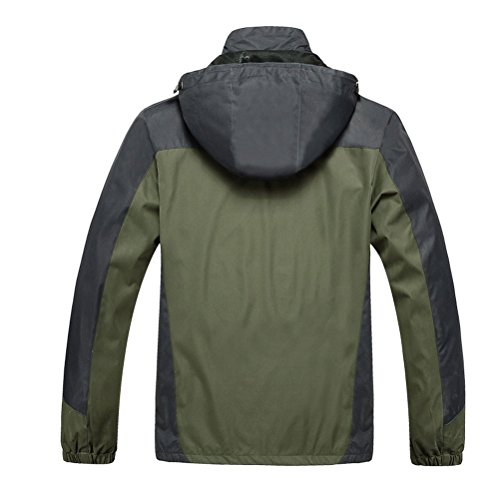 Zhhlaixing Bon tissu Mens Big and Tall Durable Waterproof Jacket Hoodie Windbreaker Gift for Father's Day Plus Size 2XL-8XL green