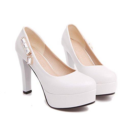 VogueZone009 Femme Rond à Talon Haut Matière Souple Mosaïque Tire Chaussures Légeres Blanc