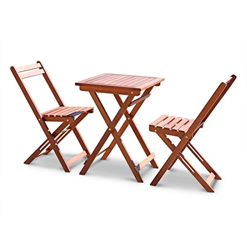 Leisure Zone Luxury Wooden Garden Table and Chairs Set-Classic 3 Piece Garden Folding Dining Furniture Set- Easy Folding Chairs and 1 Square Table Solid Acacia Wood 2 Year Warranty