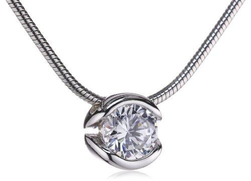 Esprit Damen-Kette glam shine 925 Sterlingsilber 1 Zirkonia farblos 42-45cm ESNL92153A420