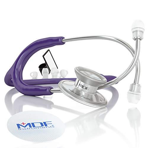 MDF Instruments Acoustica Deluxe MDF747XP08, Estetoscopio ligero de doble cabeza, Morado (Purple)