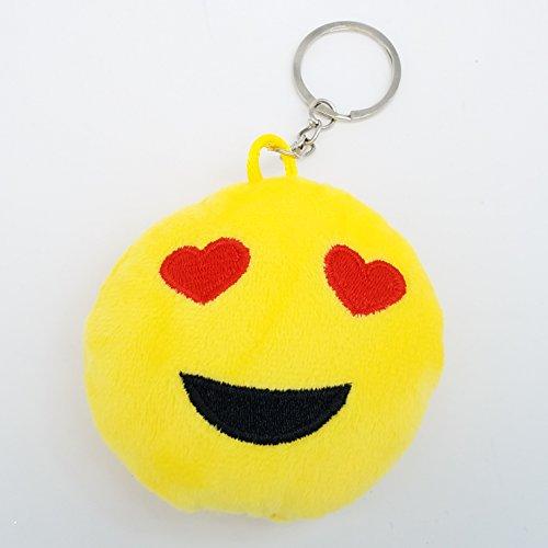 5,1cm Mini Love Emoji-Schlüsselanhänger–Gelb GN Unternehmen, Textil, gelb, 5 Stück Wand-tragen Abnehmbare Aufkleber