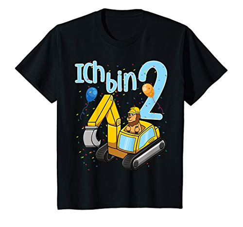 Kinder Ich Bin Zwei 2 Jahre Zweiter 2. Geburtstag Bagger Löwe T-Shirt -