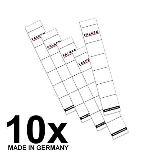 Falken Ordner-Rückenschild Etiketten 30 x 190 mm zum Einstecken für 5 cm schmale Ordner 10er Pack weiß