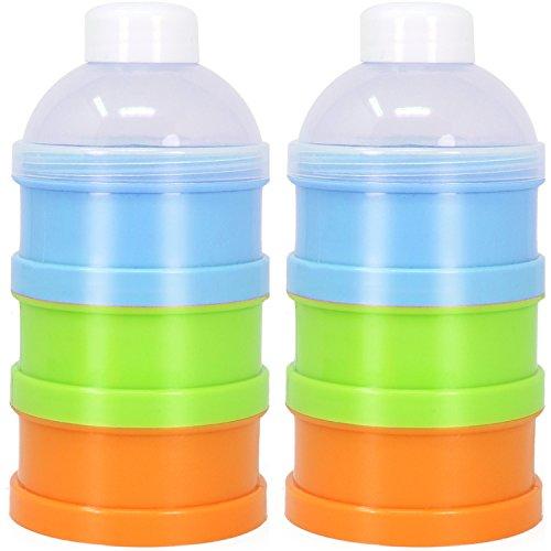 COM-FOUR® Dispensador de leche en polvo 2 para la porción de la leche en polvo, la leche en polvo para 2 porciones de 3 porciones, aproximadamente 90 ml por bandeja (02 piezas - azul)