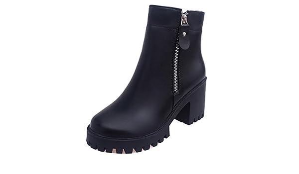 Binying Bottes Femme Plateau Bout Rond Bloc Fermeture Eclair  Amazon.fr   Chaussures et Sacs a455c468601b