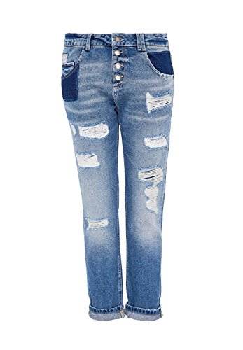 HALLHUBER Jean boyfriend au look destroyed moyen blue denim