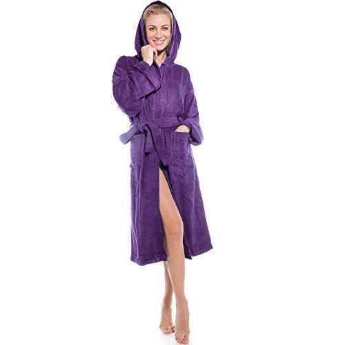 aqua-textil Frottee Bademantel mit Kapuze aus 100% Baumwolle, für Damen u. Herren, Morgenmantel Föhr 1000363 lila L