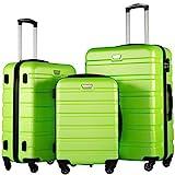 COLIFE Hartschalen-Koffer Trolley Rollkoffer Reisekoffer mit TSA-Schloss und 4 Rollen(Grün, Koffer-Set)