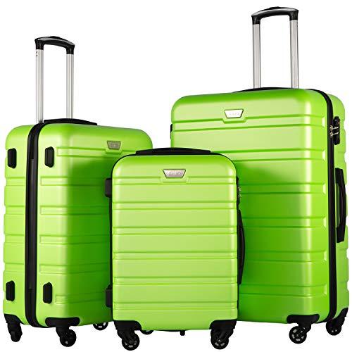 COOLIFE Hartschalen-Koffer Trolley Rollkoffer Reisekoffer mit TSA-Schloss und 4 Rollen(Grün, Koffer-Set)