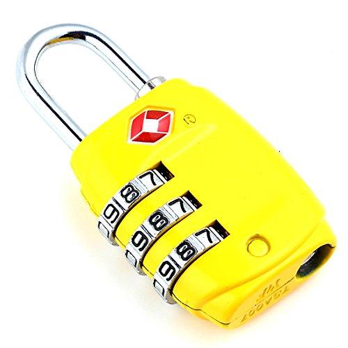 DonDon candado de viaje TSA Travel Sentry Approved / candado de equipaje de color amarillo