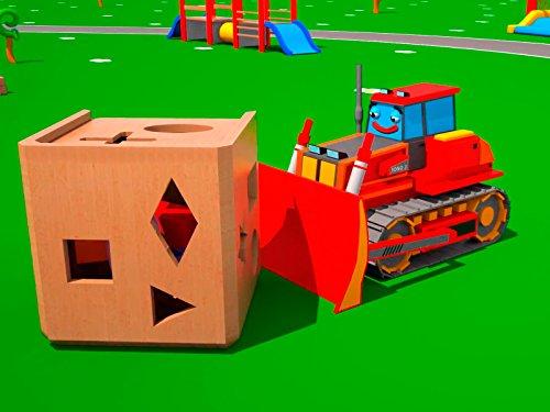 Lernen geometrische Formen mit roter Bulldozer (Traktor-boxen)